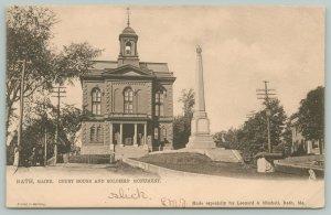 Bath Maine~Court House~Civil War Soldiers Monument~High & Centre~1906 TUCK B&W