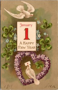 A Happy New Year - BIRD CLOVER Flowers - Vintage - POSTCARD PC POSTED