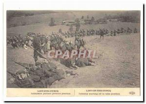 Lisy on Ourcq Old Postcard Infantry therefore take position (militaria)