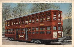 Pittsburg Pennsylvania Double Deck Car Trolley Antique Postcard K68412