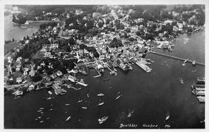 Boothbay Harbor ME Aerial View Real Photo Postcard