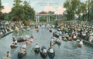 Canoes at Band Concert - Belle Isle, Detroit MI, Michigan - DB