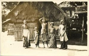 indonesia, BALI, Native Young Children in front of a House (1920s) RPPC Postcard