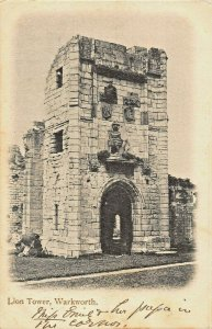 WARKWORTH NORTHUMBERLAND ENGLAND~LION TOWER~1904 PSMK PHOTO POSTCARD