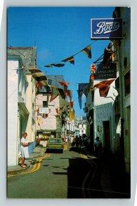Fowey UK-United Kingdom, Main Street, Chrome Postcard
