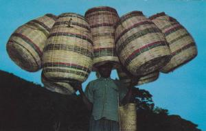 Haitian basket vendor on way to Port-au-Prince, Haiti, West Indies, 40-60s