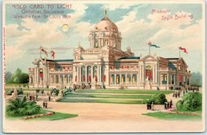 1904 St. Louis World's Fair HOLD-TO-LIGHT Postcard Missouri State Building UNU