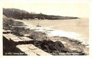 RPPC Fishing Boat Entering Channel at Depoe Bay, Oregon Coast Highway Postcard