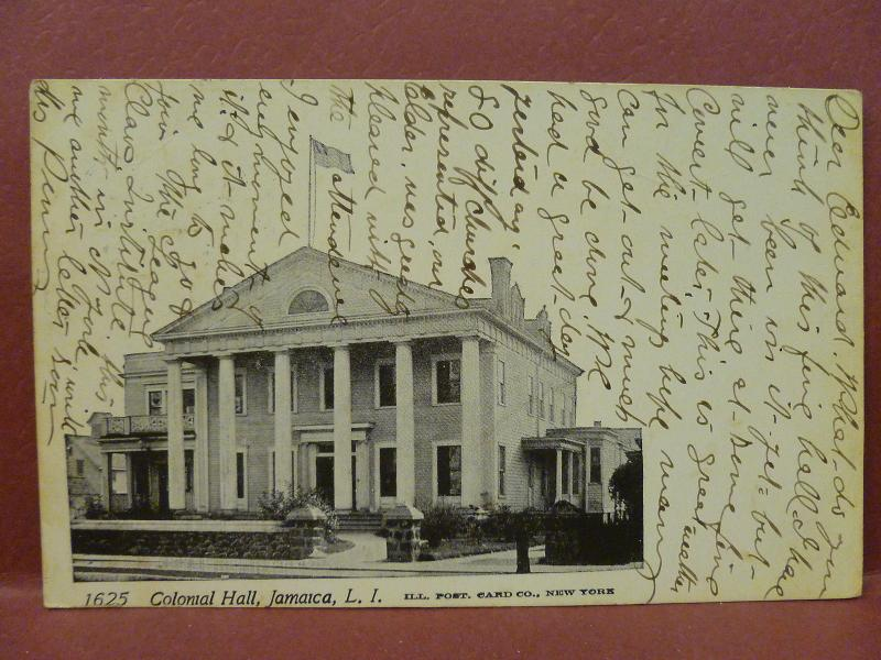 Old Postcard: NY Long Island Jamaica Colonial Hall 1905