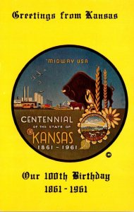 Kansas Greetings From Centennial 1861-1961 Our 100th Birthday