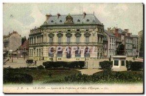 Le Mans Old Postcard Square prefecture and Caisse d & # 39epargne