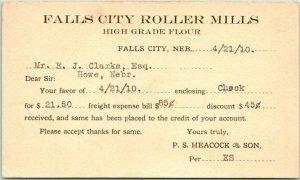 1910 Falls City, Nebraska Business Postcard FALLS CITY ROLLER MILLS Statement