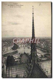 Old Postcard Paris la Fleche Notre Dame and Seine View