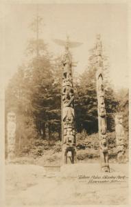 INDIAN TOTEM POLES STANLEY PARK CANADA ANTIQUE REAL PHOTO POSTCARD RPPC