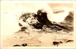 Cannon Beach OR High Surf Wave RPPC Postcard unused (18044)