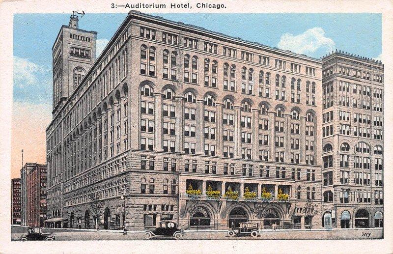 Auditorium Hotel, Chicago, Early Postcard, Unused