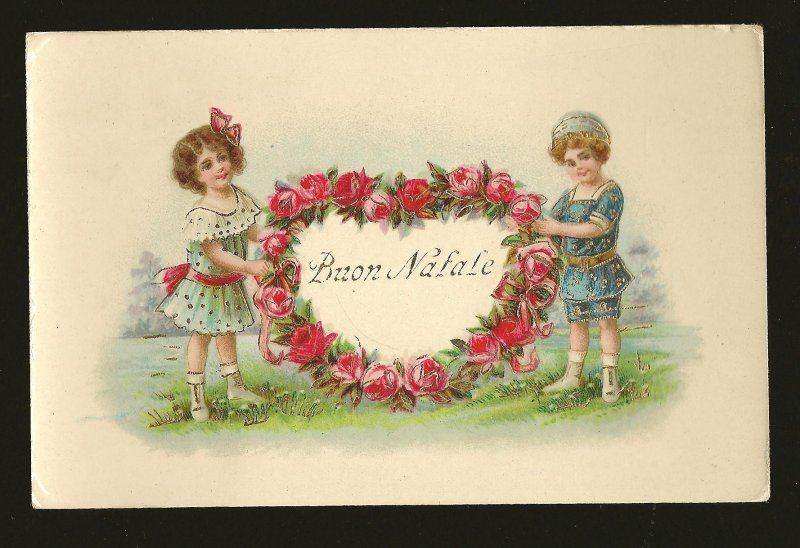 Printed in Germany Buon Natale (Merry Christmas) Embossed Color Postcard
