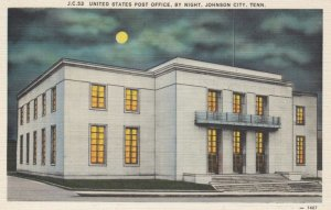 JOHNSON CITY, Tennessee, 1930-40s; United States Post Office, by Night