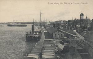 SARNIA , Ontario , 1909 ; Scene Along the Docks #2