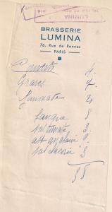 Brasserie Lumina Rue De Rennes Paris Restaurant 1940s Receipt