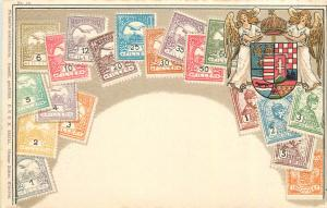 Stamps of Hungary coat of arms by Ottmar Zieher chromo litho postcard