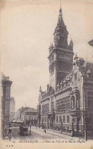 L'Hotel De Ville Et La Rue De l'Eglise, Dunkerque (Nord), France, 1900-1910s