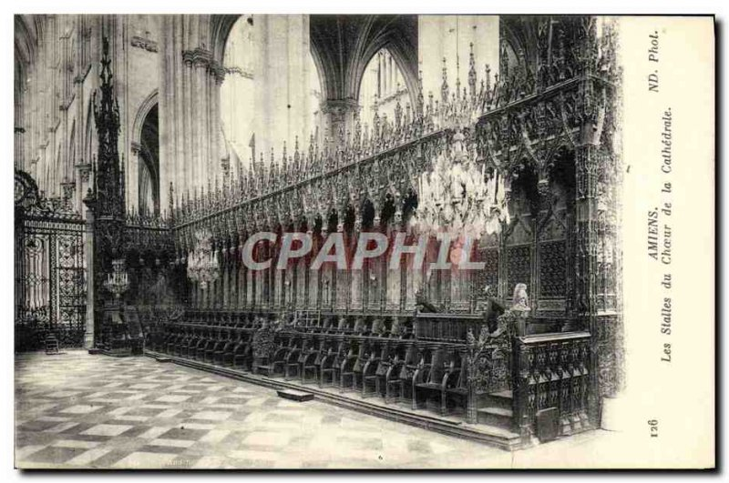 Old Postcard Amiens stalls of the Cathedral Choir