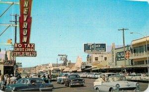 Tijuana Mexico 1950s Automobiles bus Street Scene Postcard 21-9850