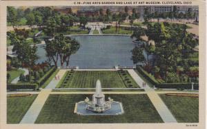 Fine Arts Garden and Lake at Art Museum Cleveland Ohio Curteich