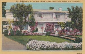 California Beverly Hills Residence Of Mr and Mrs George Burns Curteich