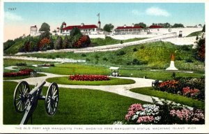Michigan Mackinac Island The Old Fort and Marquette Park Showing Pere Marquet...