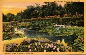 California Beverly Hills Beverly Gardens Beautiful Water Gardens Curteich