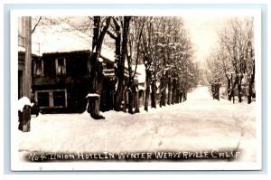 Postcard Union Hotel in Winter, Weaverville, CA snow snowy RPPC G42