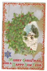 Vintage Christmas Postcard Gold Silver Holly Crescent Wreath Glitter 1909 Winsch