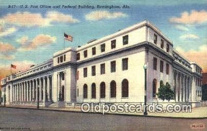 Birmingham, AL USA,  Post Office Postcard, Postoffice Post Card Old Vintage A...