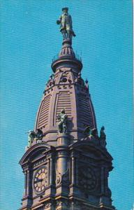 Statue Of Wm Penn Atop City Hall Tower Philadelphia Pennsylvania