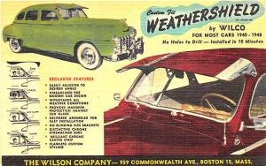 Boston MA Wilson Co. Weathershield by Wilco 1940-1948 Cars Linen Postcard