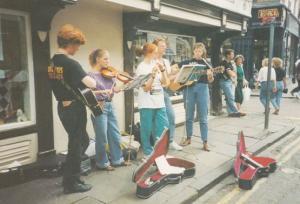 Teenage Street Buskers Music Band York Yorkshire Postcard