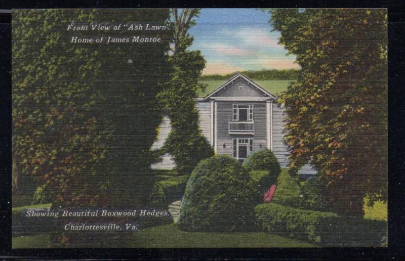 Virginia colour postcard Ash Lawn Home of James Monroe unused