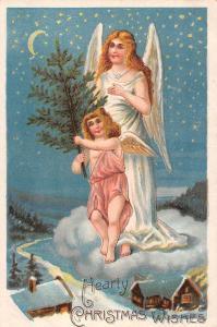 Hearty Christmas Wishes, Lady Woman Girl Angel Cherub, Crescent Moonlight Stars
