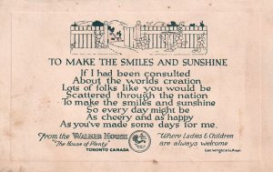TORONTO, Ontario, Canada, 1900-1910s; To Make The Smiles And Sunshine Poem,...