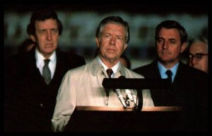 President Carter,VP Mondale and Secretary Muskie meet with Reporters