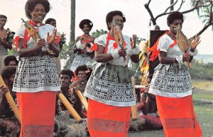 Meke, Men performing fierce club and spear dances Fiji Postal Used Unknown