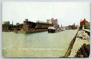 Buffalo New York~Freighter in Buffalo Harbor Entrance~Watson Elevator~c1910 PCK