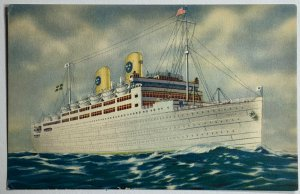 VTG Old Advertising Postcard Swedish American Liners Cruise Ship on Sea Unused