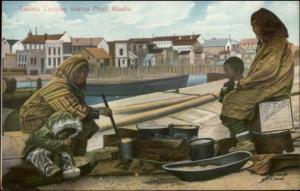 Eskimo Women Cooking Walrus Meat - Ethnography c1910 Postcard AYPE 90618