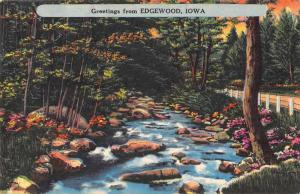 Edgewood Iowa Greetings From scenic view river and road antique pc Z44343