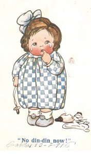 Marjory W. Steed.Comic little girl. No din-din now! Old vintge antique english