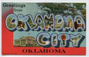 Greetings From Oklahoma City OK Large Letter Linen postcard