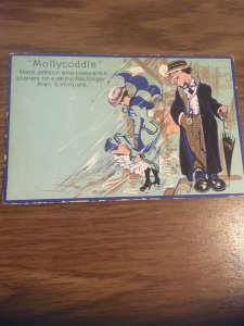 Antique Postcard- MOLLYCODDLE, Male person who looks at the scenery on a ...